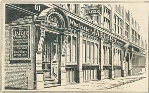 Das Londoner Geschäft in der Moor Lane; Ansicht auf einer Preisliste von 1911.