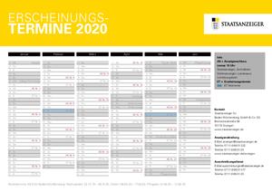 Erscheinungskalender des Staatsanzeigers 2020