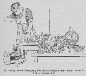"""Abbildung aus """"Der neue Haushalt"""" von Erna Meyer, 1926: Unnötiges mit üppigen Verzierungen hatte im Alltag der Moderne keinen Platz."""