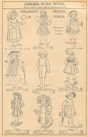 In England vertriebene Jaeger- Modelle für Kinder (1911)