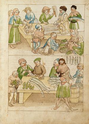 Marktszenen aus der um 1465 entstandenen Richental-Chronik des Konstanzer Konzils von 141