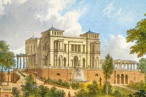 Die Villa Berg von Osten, um 1860 (Foto: SSG, LMZ)
