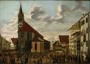 Die Stadtkirche St. Stephan und der nörliche Stephansplatz in Konstanz auf einem Uhrenbild um 1810 (Foto: Rosgartenmuseum Konstanz)