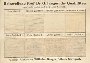 Karte der Firma Wilhelm Benger Söhne mit Materialmustern aus der Zeit um 1910. In bis zu acht verschiedenen Wollqualitäten waren die Jaeger'schen Unterwäschemodelle erhältlich.