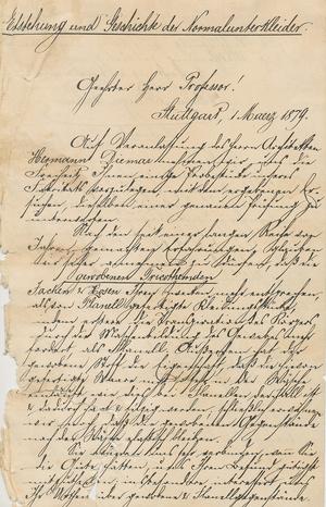 Abschrift des Briefes, mit dem die Firma Wilhelm Benger Söhne am 1. März 1879 einige Hemden und Hosen zur Begutachtung an Jaeger schickte, um ihn von den Vorteilen der Maschenware gegenüber Flanell zu überzeugen.