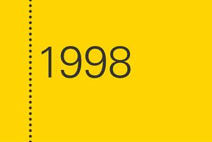 gelber Kasten mit Jahreszahl 1998