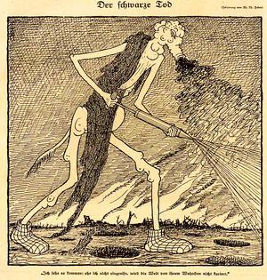 """Die Karikatur """"Der schwarze Tod"""" von Thomas Theodor Heine erschien in der satirischen Zeitschrift """"Simplizissimus"""", Heft 29 vom 15. Oktober 1918. """"Ich sehe es kommen: ehe ich nicht eingreife, wird die Welt von ihrem Wahnsinn nicht kuriert."""""""