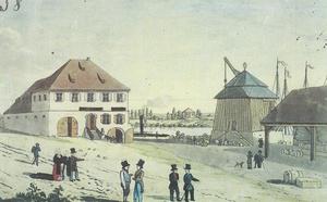 Das Wirtshaus zum Kranen in Heilbronn, gezeichnet von Carl Dörr (Foto: Städtische Museen Heilbronn)