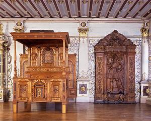 Prachtstück im Goldenen Saal des Schlosses Urach: Das Prunkbett aus der Renaissancezeit