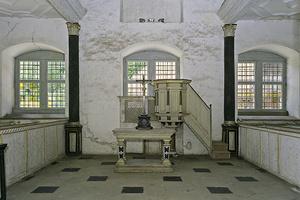 Altar und Kanzel in der Hofkapelle des Schlosses Weikersheim (Foto: SSG, LMZ, Arnim Weischer)
