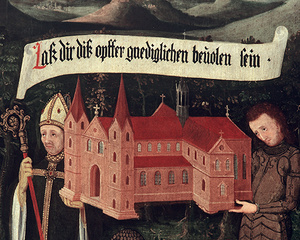 Detail der Maulbronner Stiftertafel: Bischof Gunther von Speyer und der Ritter Walter von Lomersheim mit einem Modell der Kirche (Foto: SSG)