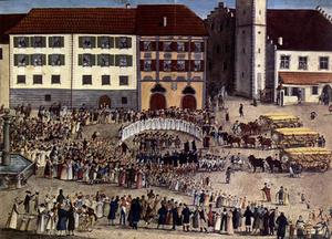 """G. J. Edinger, Einzug der ersten Erntewagen nach der großen Hungersnot von 1816–1817 am 4. August 1817 auf dem """"Platz"""" in Ravensburg, Gouache, 1817"""