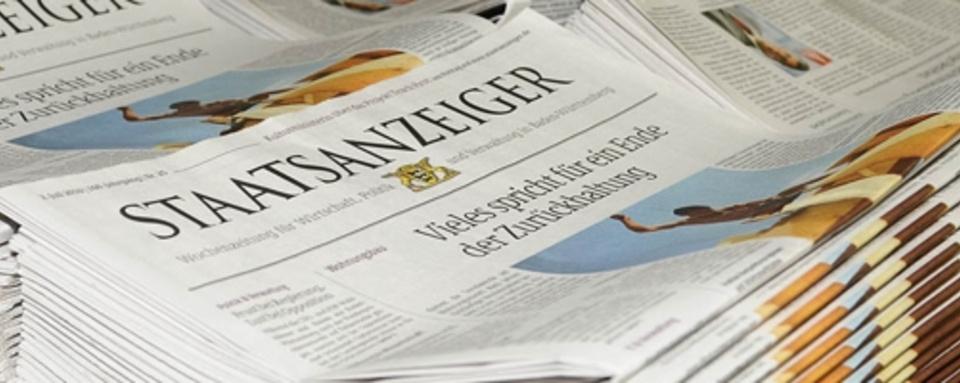 Nachrichten zum Thema Ausschreibung und Vergabe,  Quelle: Staatsanzeiger