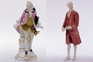 Kavalier aus Porzellan, um 1770 und Herrenkleidung aus der Zeit um 1770 (Foto: Landesmuseum Württemberg, Frankenstein/Zwietasch)