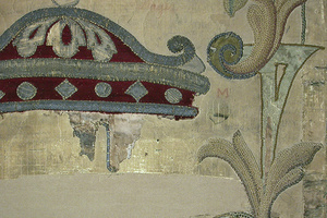 Detail nach der Restaurierung mit Klebebrücken aus Japanpapierstreifen (Foto: SSG)