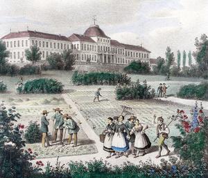 Ansicht des Schlosses Hohenheim vom südlichen Garten aus. Altkolorierte Lithografie von Renz/Stuttgart, 1840 (Foto: Archiv Universität Hohenheim)