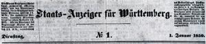 Kopf Staats-Anzeiger für Württemberg