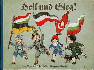 """Das ebenso ansprechende wie militaristische Kinderbuch """"Heil und Sieg!"""" des Esslinger J. F. Schreiber Verlags von 1915/16 war im Projekt ein """"Objekt des Monats""""."""