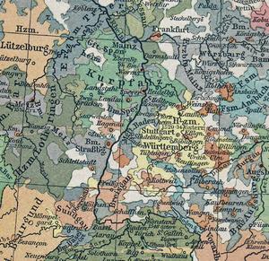 Politische Karte vom Südwesten des Heiligen Römischen Reichs Deutscher Nation im Jahre 1547. (Foto: F.W. Putzgers historischer Schul-Atlas 1918)