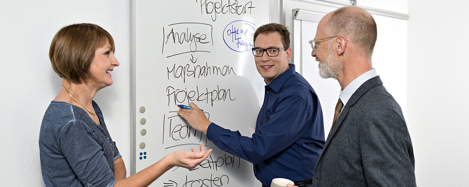 Drei Mitarbeiter besprechen das Vorgehen zum Projektstart am Whiteboard