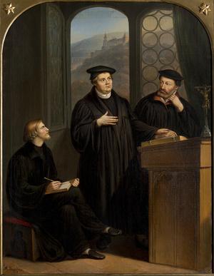 Isenmann und Brenz im Gespräch mit Luther in Heidelberg 1518 (Foto: Kirchengemeinde St. Michael und St. Katharina, Schwäbisch Hall, Foto: Jürgen Weller)