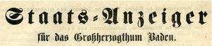 Kopf Staats-Anzeiger für das Großherzogtum Baden