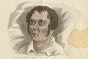 Zeichnung vom Kopf eines Cholerakranken aus den 1860er-Jahren. (Foto: StAL E 162 I Bü 1977)