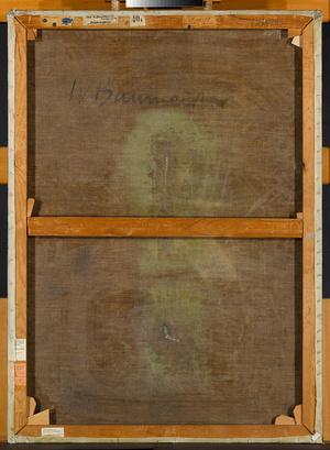 """Die Rückseite der """"Seilspringerin"""" mit dem trotz Restaurierung noch deutlich sichtbaren Schnitt. (Foto: Staatsgalerie Stuttgart)"""