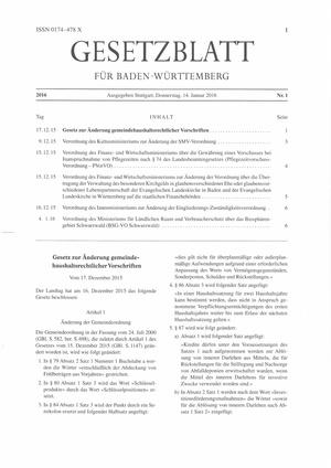 Abo Gesetzblatt für Baden-Württemberg