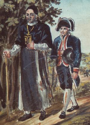 Philipp Theodor Popele als Lakai des Salemer Abts