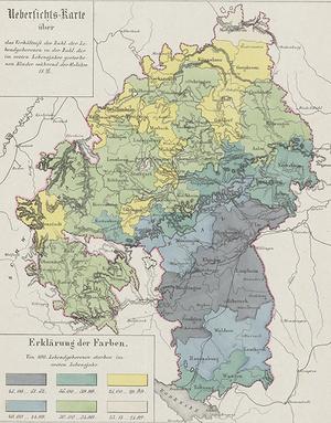 Die Übersichtskarte zur Säuglingssterblichkeit in Württemberg von 1846 – 56 zeigt ein erschütterndes Gefälle. In einigen Oberämtern überlebte jedes zweite Kleinkind die Säuglingszeit nicht. Die Farbskala zählt in Fünferschritten von 45 – 52