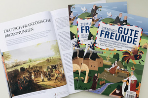 Foto mit Titelbild und Innenseiten des Magazins Ziemlich gute Freunde