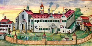 Die Frauenzisterze Gutenzell östlich von Biberach. Die Westansicht aus der älteren Klosterchronik um 1585 zeigt die Klausurmauer sowie Personen innerhalb des Geländes, jedoch keine Nonnen - ein Hinweis auf die Klausur?