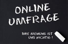 Weiße Lettern Online-Umfrage auf schwarzem Hintergrund