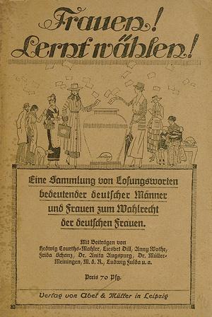 """Umschlagabbildung einer Broschüre aus dem Jahr 1918 mit dem Titel """"Frauen! Lernt wählen!"""" (Foto: Badische Landesbibliothek Karlsruhe)"""
