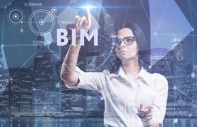 Werbebild BIM-Kongress: Frau vor Wolkenkratzern