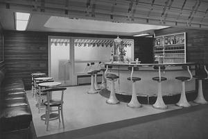 Espressobar mit DLW-Linoleum, Entwurf von Josef Hoffmann (1870 – 1956) für die Werkbundausstellung in Wien 1930.