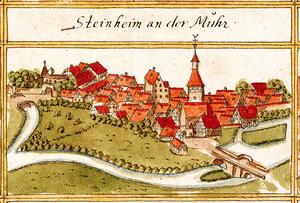 Ansicht von Steinheim an der Murr aus dem Kieser'schen Forstlagerbuch 1686