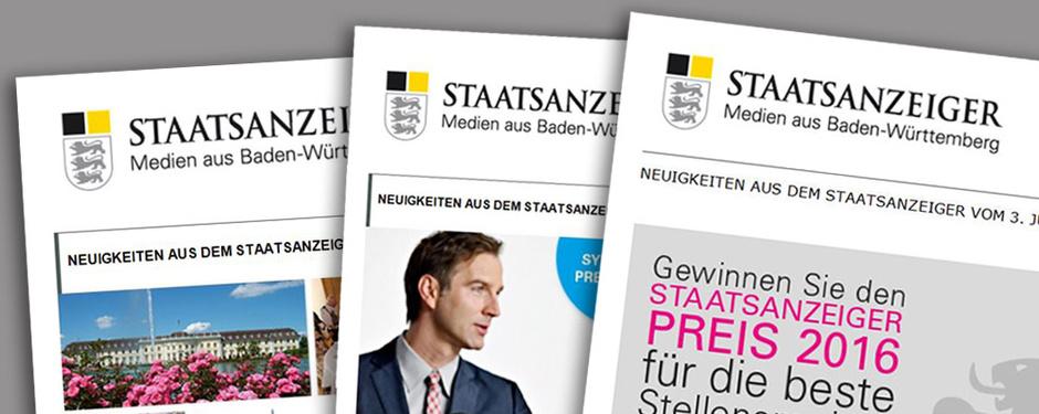 Drei verschiedene Newsletter in Abbildungen