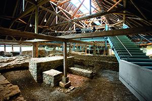 Blick in den Innenraum des römischen Kastellbads Hüfingen