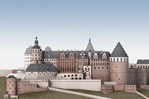 Schloss Heidelberg, Ansicht von Norden, Rekonstruktion des Bauzustandes um 1683 (Foto: SSG, Julian Hanschke)