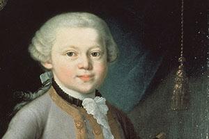 Der siebenjährige Wolfgang Amadeus Mozart im Festgewand. Das Gemälde von Pietro Antonio Lorenzoni entstand 1763