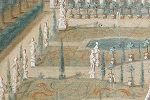 Ausschnitt aus einem 1773 entstandenen Gemälde von Georg Adam Eger. Er zeigt Zypressen im Schlossgarten. Dort stehen sie heute wieder.